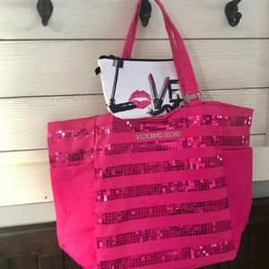 💗VICTORIA'S SECRET Sequin Tote With Cosmetic Bag